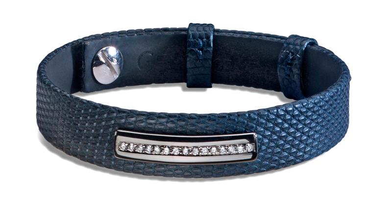 Accessoire Bijou pour homme : bracelet en lézard mat bleu, barette en or noir sans email, diamants blancs