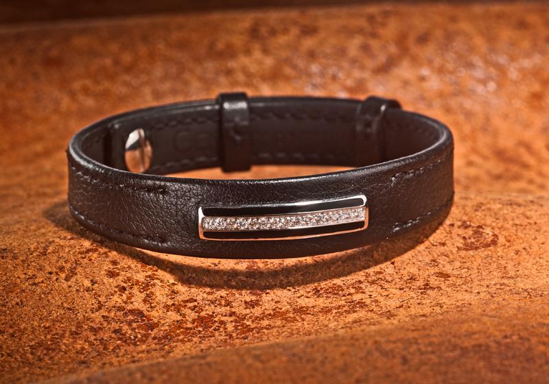 bracelet homme en cuir et diamants (veau lisse, surpiqûre ton sur ton)