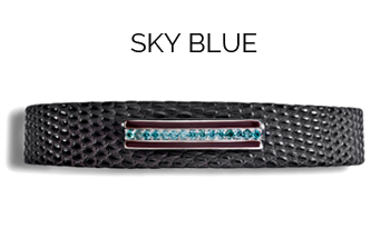 bracelet homme en lézard mat marron, barrette en or gris brillant, email marron, diamants bleus