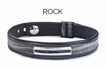 bracelet pour homme en diamants cuir noir rock