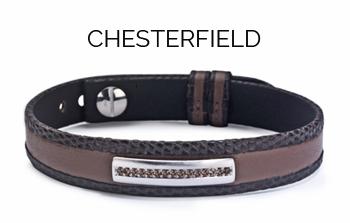bracelet pour homme en diamants cuir marron chesterfield